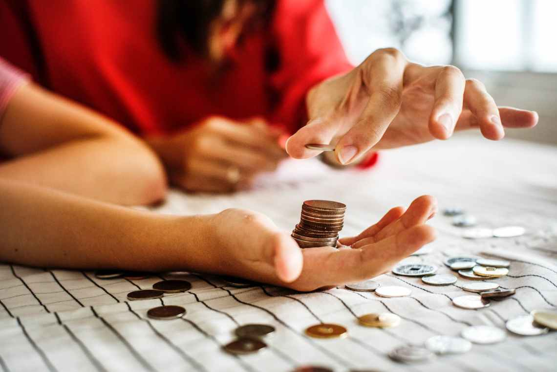 person holding coins
